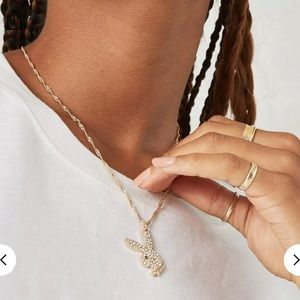 Playboy Gold Look Diamanté Bunny Pendant Necklace